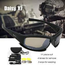 <b>Daisy Polarized X7</b> Army <b>Sunglasses</b> 4 Lens Kit, Military War Game ...
