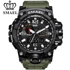 <b>SMAEL</b> 1545 <b>Men's</b> LED Analog Digital Dual Display Sport <b>Watch</b> ...