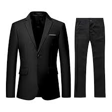 YFFUSHI Men's 2 Piece Suit Slim Fit Solid <b>Two</b>-<b>Button Notched</b> ...