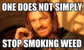 One does not simply stop smoking weed - Boromir - quickmeme via Relatably.com