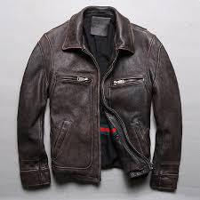 <b>2018 New Men Retro</b> Vintage Brown Genuine Leather Jacket ...