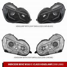 <b>Передняя оптика LED</b> (2 шт, пластик+стекло) Mercedes C-Class ...