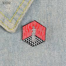 <b>XEDZ</b> New hexagon shaped human sculpture brooch red ...