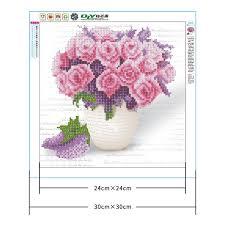 2019 5D DIY <b>Diamond Flower</b> Arrangement Flower Vase Cross ...
