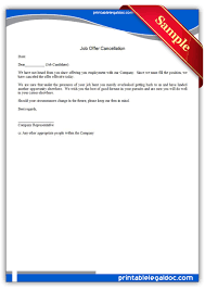 printable job offer cancellation form generic