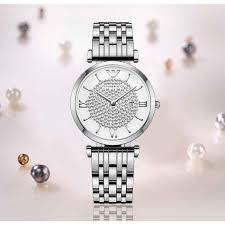<b>PUVOS</b> Gypsophila Silver Steel Band Women's Quartz Watch ...