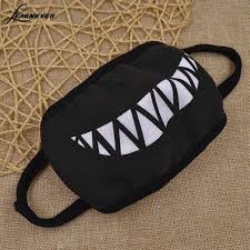 1pc Cartoon Funny Teeth <b>Black Cotton Black Mouth</b> Mask Fashion ...