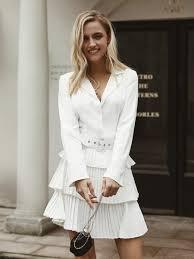 Chiffon Blazer Pleated <b>Dress Women</b> Robe Femme High Fashion ...