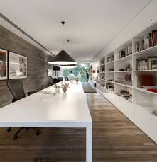 laptop computer desk and modern home office ideas with simple long white stained wooden under black black white home office study