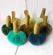 Thanksgiving Table <b>Velvet</b> Pumpkins Green Set <b>Halloween</b> Decor ...