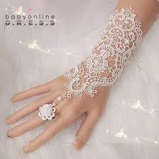 1Pair Fingerless Lace Wedding Gloves <b>New Hot Sale</b> Fashion <b>White</b> ...