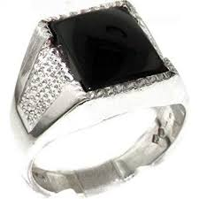 Gents <b>Solid 925 Sterling Silver</b> Natural Onyx Mens Signet Ring ...