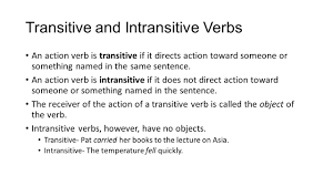 parts of speech verbs english action verbs action verbs tell what transitive and intransitive verbs an action verb is transitive if it directs action toward someone or