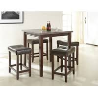 room table displays coaster set driftwood: steve silver aberdeen  piece counter height dining set in driftwood