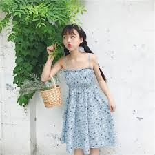 Japanese sweet high-waist floral dress small fresh fungus side ...