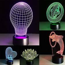 """<b>3D</b> LED Night Light/Lamp """"Bulb-3 Cycle-<b>Dolphin</b>-<b>Lotus</b>-Heart Love ..."""