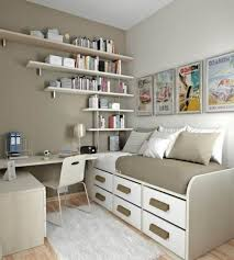 l fascinating teenage bedroom design for small space with wall mounted book shelving organizers over single beds equipped six storage drawers and floating bedroom furniture interior fascinating wall