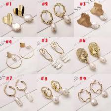 17KM <b>Vintage Irregular Geometric Pearl</b> Earrings for Women ...