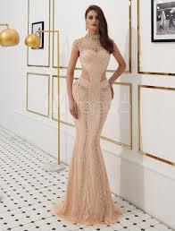 <b>Mermaid</b> Evening Dresses <b>Luxury Heavy Beading</b> Illusion Cutout ...