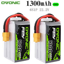 2PCS <b>Ovonic 22.2V</b> 1300mAh <b>100C</b> 6S1P LiPo Battery Pack with ...