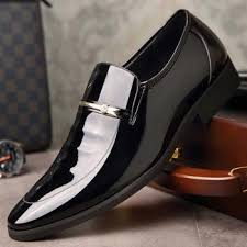 <b>Men Pointed Bright</b> Skin Patent Leather Business: Buy Dress Shoes ...
