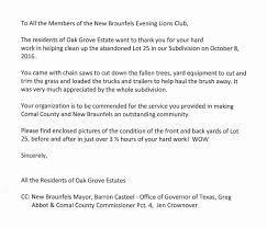 tree removal service project new braunfels evening lions club thank you letter from the neighborhood residents