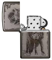 "<b>Зажигалка</b> ""<b>Zippo</b>. <b>Wolf Design</b>"" с покрытием Black Ice, 36x12x56 мм"