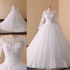 Trendy <b>Long</b> Sleeves <b>Sheer</b> Wedding Dresses Sequins Lace Plus ...