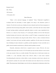 music education research paper ferrell brandon ferrellmrs tilleryap literature november