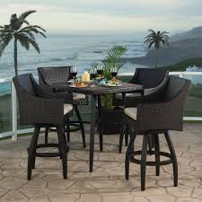 wicker bar height dining table: rst brands deco piece allweather wicker patio bar height dining set with slate grey the home depot