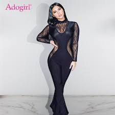<b>Adogirl Sheer Mesh</b> Lace Patchwork Flare Jumpsuit Women ...