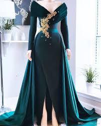 <b>Hunter Green Mermaid 2019</b> Evening Dresses V Neck Beaded Split ...