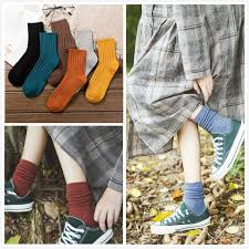 <b>Women</b> Cotton <b>Solid Color</b> Loose Rool Up Casual Socks | Shopee ...