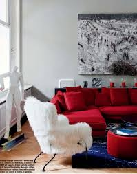 Living Room Wall Color For Small With Red Sofa And Modern Round Coffee Console Living   A