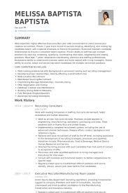 Recruiting Consultant Resume Samples VisualCV