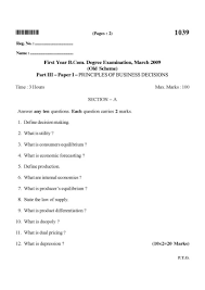b com previous year question papers of st year of university of answer any ten questions each question carries 2 marks 1 what is job description 2 what is departmentation 3 what is mental revolution