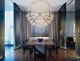 dining room example of a trendy dining room design in chicago with dark hardwood floors ultra modern chandelier beautiful funky dining room lights