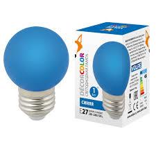 <b>Лампа</b> светодиодная <b>Volpe E27</b> 1W синяя <b>LED</b>-G45-1W/BLUE/<b>E27</b> ...