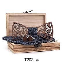 <b>Mens 4PCS Wooden bow</b> Tie Set Men Handkerchief wood Bowtie ...