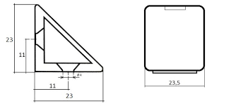 <b>Уголок</b> пластиковый 23х23 <b>мм</b>, серый (№<b>14</b>)