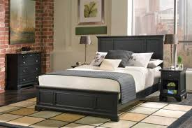 f awesome black painted mahogany wood bed frame with overstuffed queen size foam mattress includes pillows and small wooden nightstand in black varnishes amazing bedroom awesome black wooden