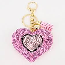 Lovely 6Colors Double Hearts Keychain <b>Tassel</b> Pendants <b>Fashion</b> ...
