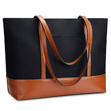 YALUXE Genuine Leather Laptop Tote for <b>Women Shoulder Bag</b>