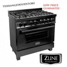 "NEW <b>PRO</b> ZLINE 36"" <b>Black</b> Stainless 6 Gas Burner/<b>Electric</b> Oven ..."