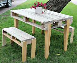 diy pallet patio furniture. diy pallet patio table with benches diy furniture