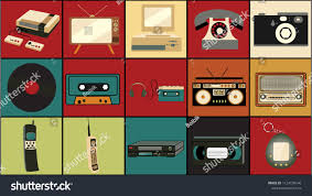 Set of old retro vintage <b>hipster</b> technology, electronics music vinyl ...