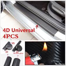 4x Accessories <b>Carbon</b> Fiber <b>Car</b> Scuff Plate <b>Door Sill</b> 4D Sticker ...