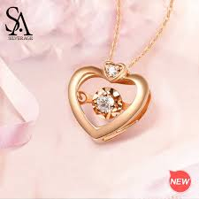 <b>SA SILVERAGE 18K</b> Rose Gold Heart Pendant Necklaces for ...