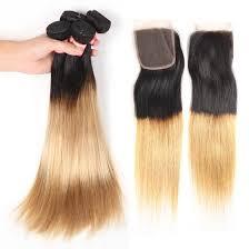 Shop <b>Ombre</b> Brazilian Virgin Hair Straight 3 <b>Bundles with</b> Lace ...