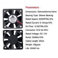 Fan Fans Cooling Gdstime Black DC 12V 2Pin 50MM 5CM ...